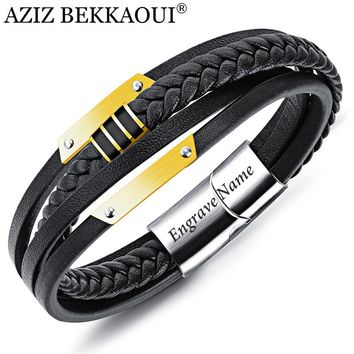 AZIZ BEKKAOUI Mens Bracelets Stainless Steel Black Leather Bracelet Engrave Name Wristband Bangle Punk Style Fashion Jewlery