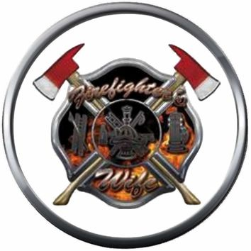Axe Flame Maltese Cross Fire Rescue Fireman Firefighter Wife Thin Red Line Courage Under Fire 18MM-20MM Snap Charm Jewelry New Item
