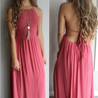 Devotion Red Crinkle Halter Neck Maxi Dress