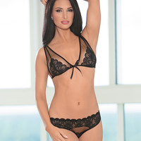 Mesh And Lace Inset Bra Set