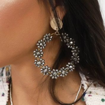 The Evening Silver Beaded Flower Hoop Earrings