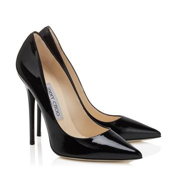 Black Patent Leather Pointy Toe Designer Pumps | Anouk | JIMMY CHOO Pumps
