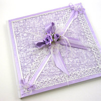 Wedding Guest Book, Personalized Guest Book, Vintage Lace, Satin, Purple Wedding, Wedding Guestbook, Wedding Sign In Book, Winter Wedding