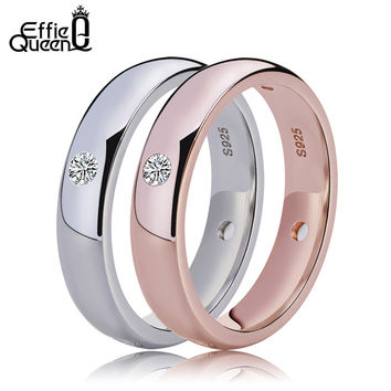 Effie Queen White Gold Plated Women Wedding Engagement Jewelry Ring New Fashion Lady Zircon Finger Rings DAR003