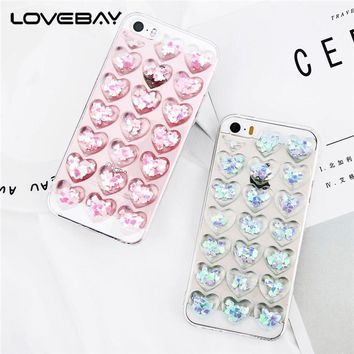 Lovebay Phone Case For iPhone 5 5S SE Fashion Cute 3D Love Heart Glitter Bling Clear Soft TPU For iPhone 5s Phone Case Cover