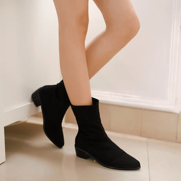 Black Women Ankle Boots Pointed Toe Low Heeled Shoes Woman 2016 3504