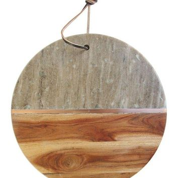 DCCKHB3 Jay Import | Marble Wood Round Cutting Board