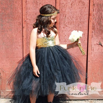 Blush Pink And Gold Flower Girl Tutu From Punknpiecouture On Etsy