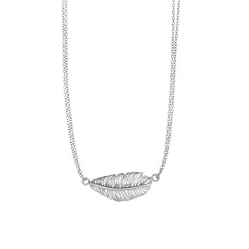 Silver Rhodium Finish 12-2.4mm Shiny+Textured  Sideways Leaf Element Anchor On Double Strand Oval  Link Fancy Necklace with Lobster Clasp