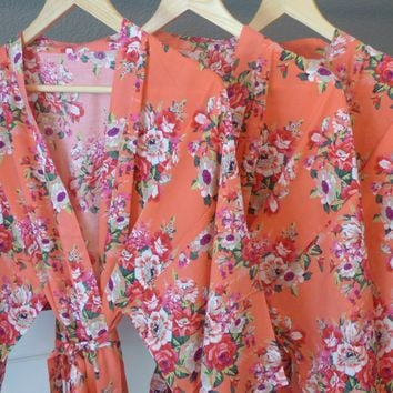 Coral Floral Kimono Bridesmaid and Flower Girl Robe