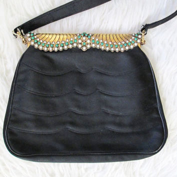 Vintage 1950s/1960s Duizend-Gans Paris Black Scalloped Beaded Fashion Handbag Purse