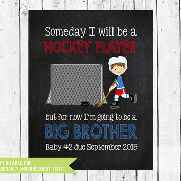 Big Brother Announcement // Hockey Pregnancy announcement // When I grow up // Hockey // pregnancy // PDF you edit with ADOBE READER