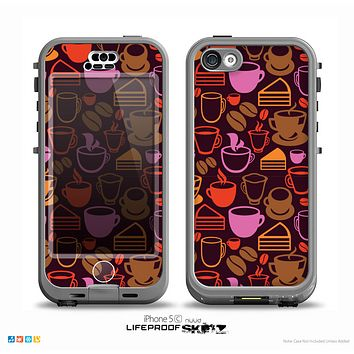 The Vector Orange & Pink Coffee Time Skin for the iPhone 5c nüüd LifeProof Case