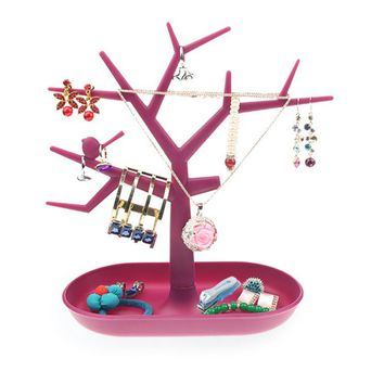 New Jewelry Bracelet Necklace Earring Ring Display Stand Organizer Holder Colorful Plastic Bird Tree Jewelry Display Rack