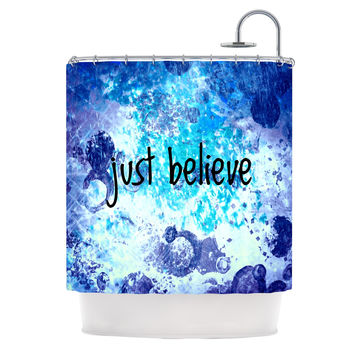 "Ebi Emporium ""Just Believe"" Blue Purple Shower Curtain"