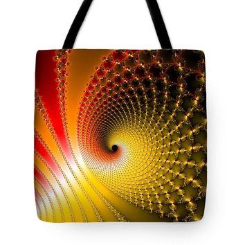 Spirals Yellow Golden Red Fractal Art Tote Bag