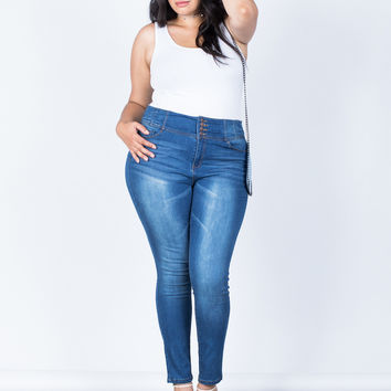 Plus Size Buttoned High Up Jeans