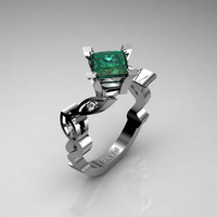 Nature Inspired 950 Platinum 2,5 Carat Princess Emerald Diamond Engagement Ring R1014-PLATDEM