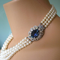 SAPPHIRE Necklace Statement Necklace, Sapphire Choker Pearl Necklace Great Gatsby Jewelry Pearl Choker Bridal Jewelry Mother Of The Bride