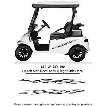 Golf Cart Vinyl Graphic Decals, Set of (2) TWO - STYLE F101