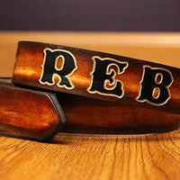 "1 1/4"" Custom Leather Name Belt, Personalized With Anything"