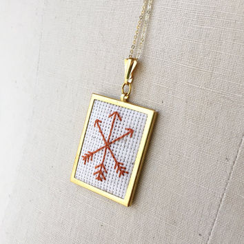 Embroidered Arrow Necklace Arrows Embroidery Pendant Jewelry Embroidered Pendant