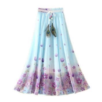 Hot New Peacock Feather Fake Silk Elastic Waist Big Bottom Printed Bohemia Summer Skirt Women Long Chiffon Skirt A119