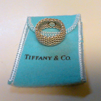 Vintage Tiffany & Co. Sterling Silver Somerset Mesh Ring Size 7