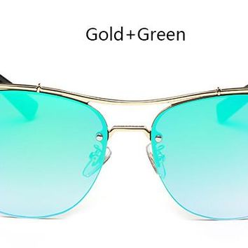 Metal Half Frame Cat Eye Ladies UV400 Mirror Glasses  Oculos Feminino