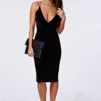 Missguided - Cheyanne Velvet Strappy Midi Dress Black