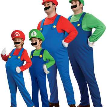 Funy Halloween Cosplay Costume Super Mario Luigi Brothers Fancy Dress Up Party Cute Costume For Adult Children Kid