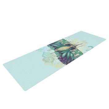 "Catherine Holcombe ""Blue Deco"" Teal Moth Yoga Mat"