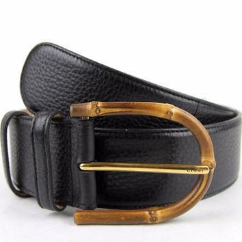 New Gucci Womens Wide Black Leather Belt w/Bamboo Buckle 322955 1000