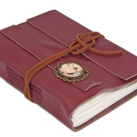 Burgundy Leather Wrap Journal with Retro Comic Cameo Bookmark - Ready to ship