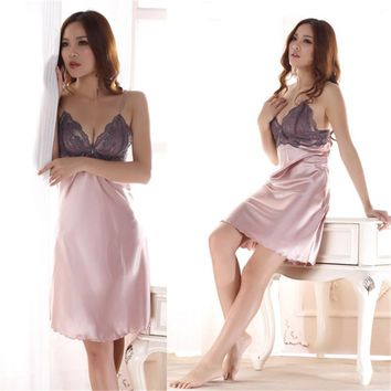 NewLadies Imitated Silk Braces Dress Lace Sleepwear Nightgown Nightwear