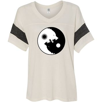 Yoga Clothing For You Yin Yang Wolves Eco-Friendly V-neck Yoga Tee Shirt
