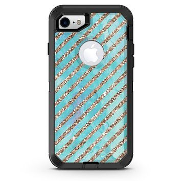 Blue Watercolor and Gold Glitter Diagonal Stripes - iPhone 7 or 8 OtterBox Case & Skin Kits