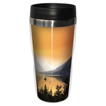 From The Cabin Artful Travel Mug - Premium 16 oz Stainless Lined w/ No Spill Lid