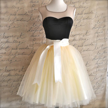 Ivory short tulle skirt. Fluffy tulle layers with circle skirt satin lining.  Your choice of length.