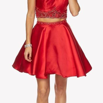 Red Cold Shoulder Two-Piece Embellished Homecoming Short Dress