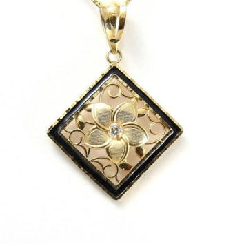 14K YELLOW GOLD HAWAIIAN PLUMERIA FLOWER FILIGREE PENDANT BLACK ENAMEL BORDER
