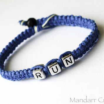 CLEARANCE SALE - Run Turquoise Macrame Hemp Bracelet, Hand Knotted Athletic Jewelry, Unisex Fitness Gift