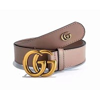 GUCCI Woman Men Fashion Smooth Buckle Belt Leather Belt { 6 colors }