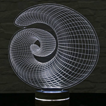 3D LED Lamp, Spiral Shape, Decorative Lamp, Home Decor, Table Lamp, Office Decor, Plexiglass Art, Art Deco Lamp, Acrylic Night Light