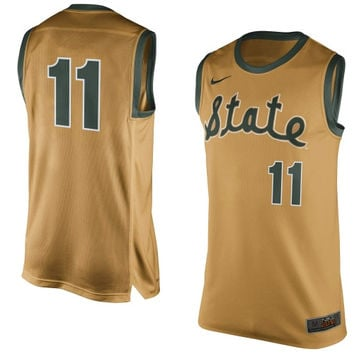 Michigan State Spartans Nike No. 11 Authentic Basketball Jersey – Gold