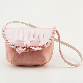 Little pink purse for little girls with silk and leather