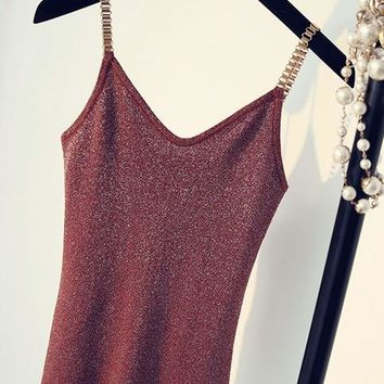 B| Chicloth Women's New Solid Color Slim Thin Silk Knitted Chain Vest