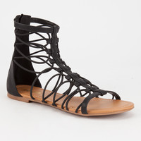 SODA Bungee Cord Zip Back Womens Gladiator Sandals | Sandals