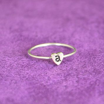 Sterling Silver Monogram Heart Ring