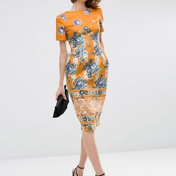 ASOS Border Print Wiggle Dress in Placement Floral Print